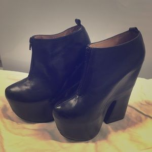 Jeffrey Campbell leather platform booties